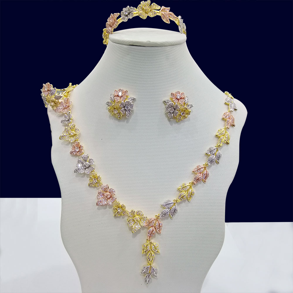 GODKI Luxury 3 Tone Leaf Flower 4PCS Nigerian Jewelry set For Women Wedding Cubic Zircon Crystal
