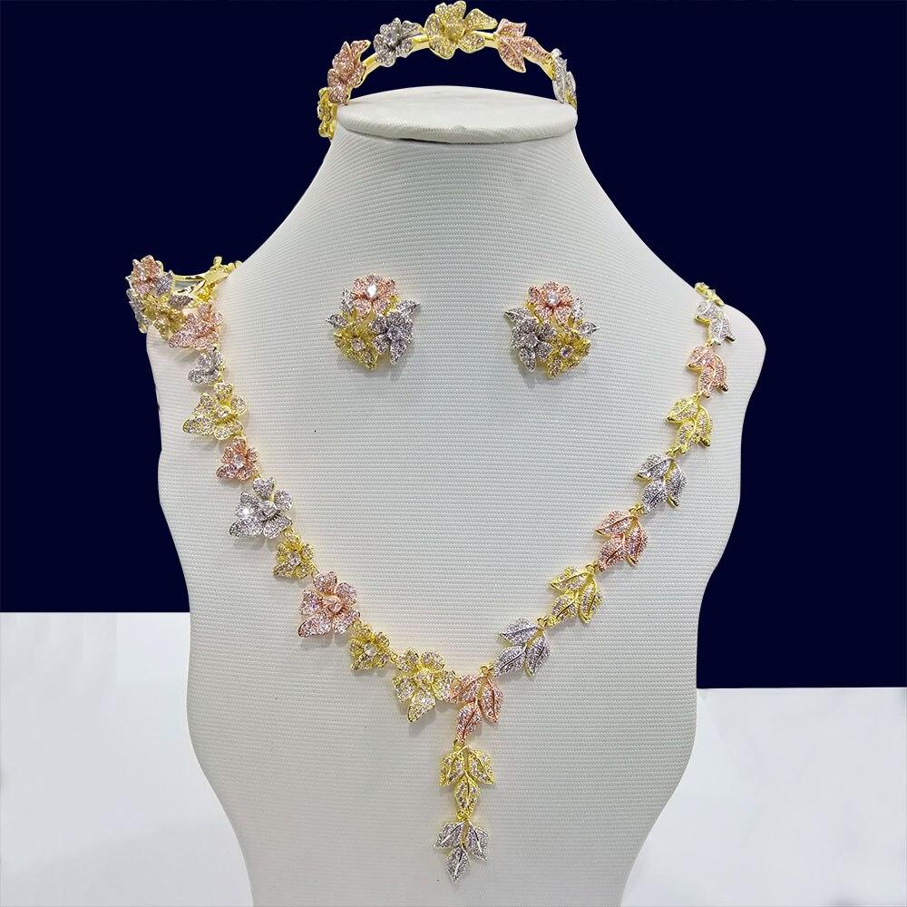 GODKI lujo 3 tonos hoja flor 4 piezas nigeriana joyería conjunto para mujeres boda cúbico zirconio cristal CZ nupcial pendiente anillo conjuntos-in Conjuntos de joyería from Joyería y accesorios    1