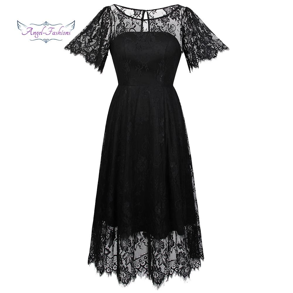 Angel-fashions Little Black   Dress   Sheer Flare sleeve A-Line Key Hole Lace   Cocktail     Dress   J-171007-S
