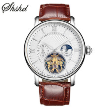 Skeleton Watch Auto Mechanical Watches For Men Top Brand Luxury Leather Band Dual Display Wristwatches Gold Watch Reloj Hombre