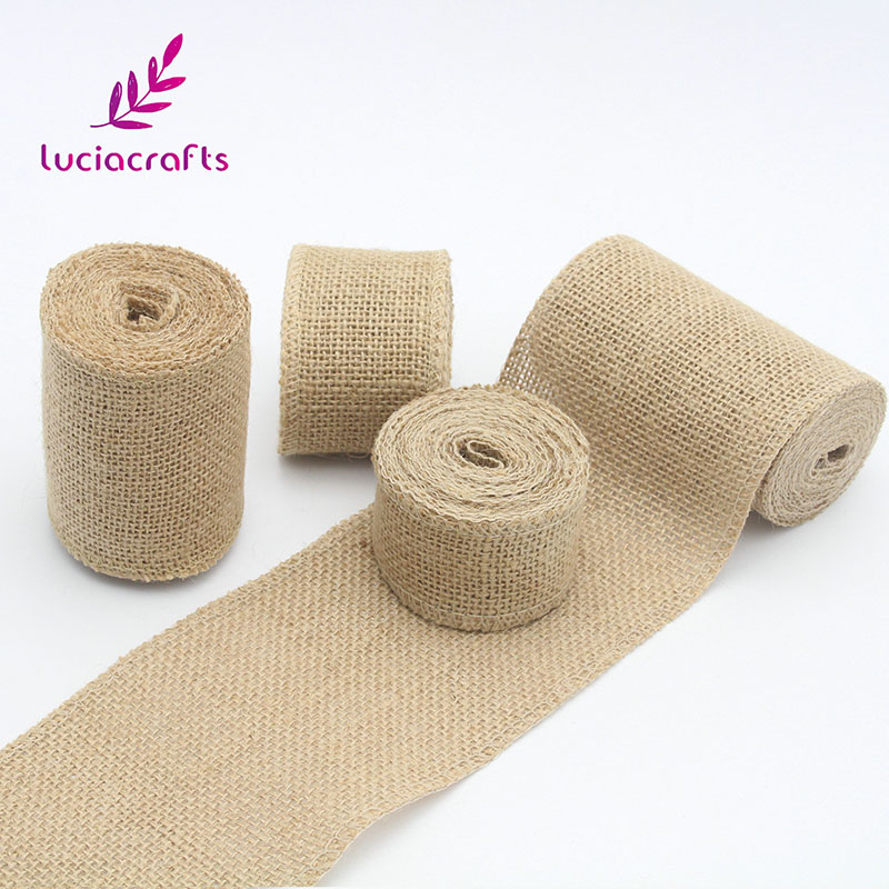 Lucia crafts 3y/lot 4cm/5cm/8cm/10cm Natural Jute Ribbons Roll Burlap Fabric For Wedding Party DIY Decoration Craft 047005023
