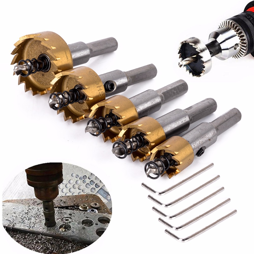 5pcs HSS Hole Saw Stainless Steel Alloy Metal Milling Cutters Drill Bit Set 16/18.5/20/25/30mm with 5pcs Wrenches