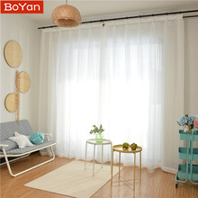Latest Cheap 4 Colors White Window Curtains Tulle for the Living Room Soild Sheer Draps Balcony Decor Cortinas on