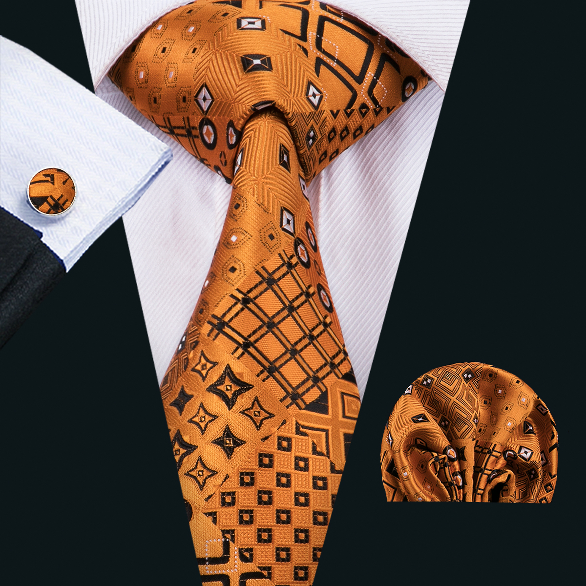 C-1517 Luxury Design Brown Fashion Ties For Men High Quality Silk Neck Tie Pocket Square Hanky Cufflinks Set Men's Necktie