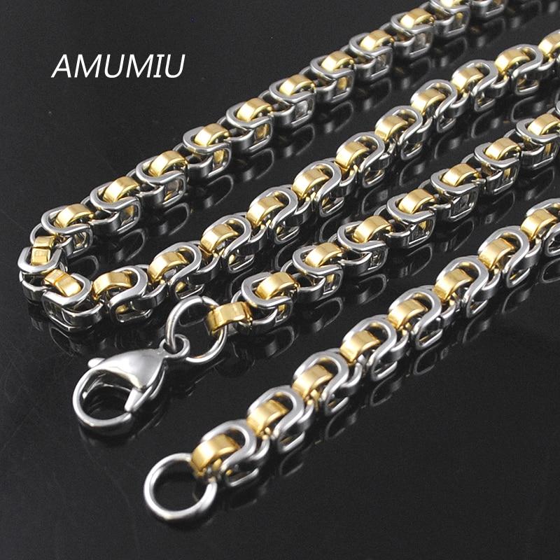 AMUMIU 45/50/55/60/65/70cm 316L Aço Inoxidável Dos Homens Colar de Corrente de Prata /ouro/Preto Caixa Bizantino Chains 5.5 milímetros HN073