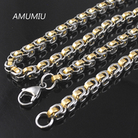 Jweuluve 45 50 55 60 65 70cm 316L Stainless Steel Men Chain Necklace Silver Gold Black
