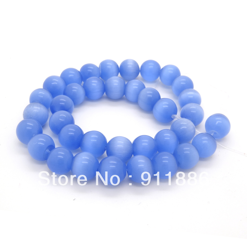 Wholesale 8mm Light Blue Cat Eye Round Shape Loose Glass Space Beads For Jewelry Making,about 50pcsstrand,Free Shipping