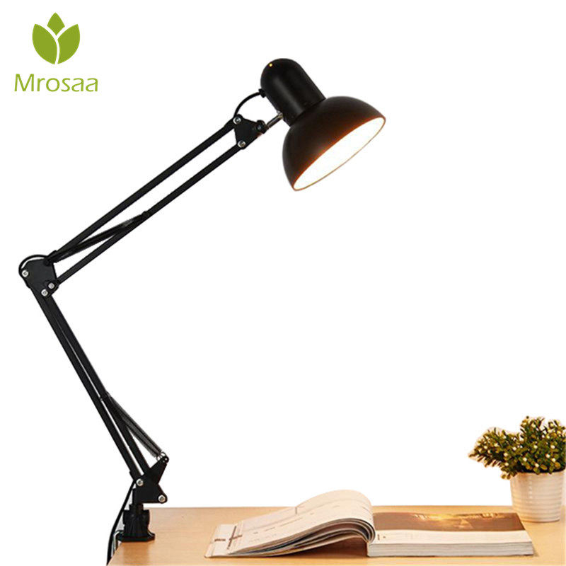 Mrosaa Flexible Swing Arm Clamp Mount Lamp Office Studio Home E27/E26 Bulb Table Black Desk Light AC85-265V Led Bulb Lamps