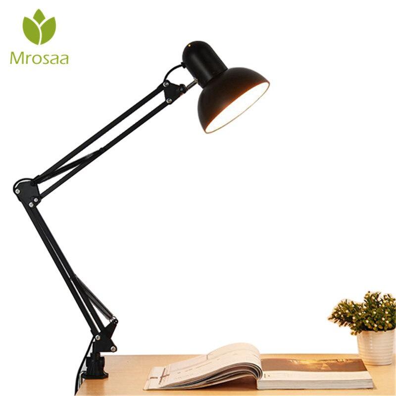Mrosaa elastyczne ramię wahadłowe mocowanie zaciskowe lampa Office Studio Home E27/E26 żarówka stół czarna lampka na biurko AC85-265V lampy z żarówkami led