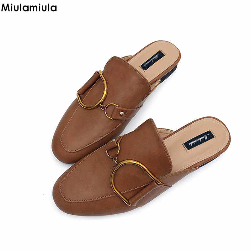 044dc80680e4c Miulamiula Brand 2018 Spring Metal Chain Leather Slides Woman Shoes Round  Toe Slippers Slip On Loafers