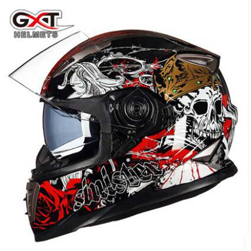2017 New Kinght equipment GXT G-999 Double lens Motorcycle helmet Full face locomotive Anti-fog Full cover Motorbike helmets 2017 new knight protection gxt flip up motorcycle helmet g902 undrape face motorbike helmets made of abs and anti fogging lens