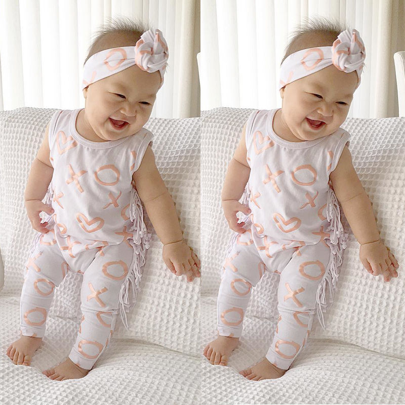 Fashion Newborn Baby Girl Clothes Summer 2017 Cotton Sleeveless Tassel Romper Playsuit +Headband 2PCS Outfit Baby girl clthing 2017 floral baby romper newborn baby girl clothes ruffles sleeve bodysuit headband 2pcs outfit bebek giyim sunsuit 0 24m