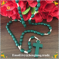 Free shipping green oval wood beads catholic rosary necklace, handmade custom wholesale religious rosary with wood cross