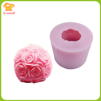 LXYY stereo large rose ball mold candle molds soap mold birthday holiday wedding Valentine candles mold tool