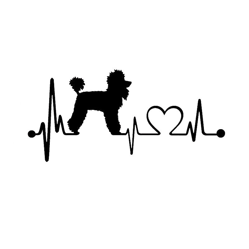19*8.9CM Poodle Heartbeat Dog Car Stickers Cartoon Vinyl Decal Car Styling Truck Decoration Black/Silver S1-0761
