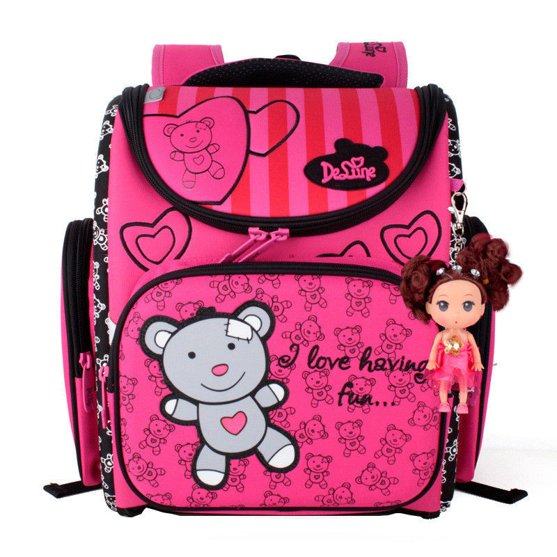 Hot Sale Delune Girls School Bags Cute Bear Pattern Children Orthopedic Backpack For Primary School Students Kids Schoolbag delune new european children school bag for girls boys backpack cartoon mochila infantil large capacity orthopedic schoolbag