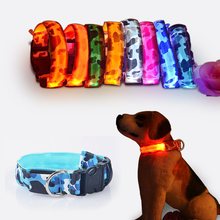Camouflage flexible length 35 60cm LED lamp dog collar with 7 colors strip light style flash