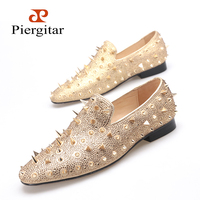 Piergitar new fahsion nubuck leather Men shoes with long rivets gold color men Loafers  prom and banquet shoes men's flats