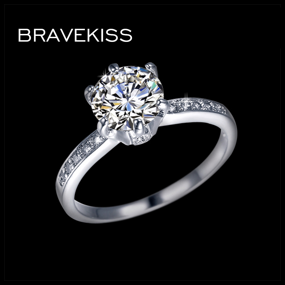 BRAVEKISS classic wedding band crystal rings bands for women zircon stone engagement ring ringen alliance mujer jewelry BUR0122