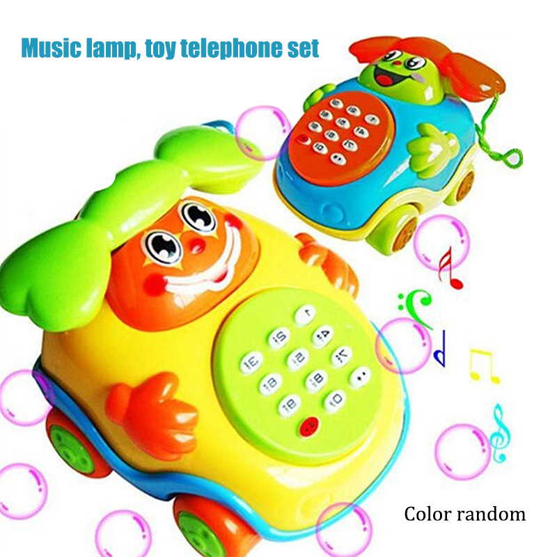 New Baby Electric Phone Cartoon Model Gifts Early Educational Developmental Music Sound Learning Toys Random Color @ZJF