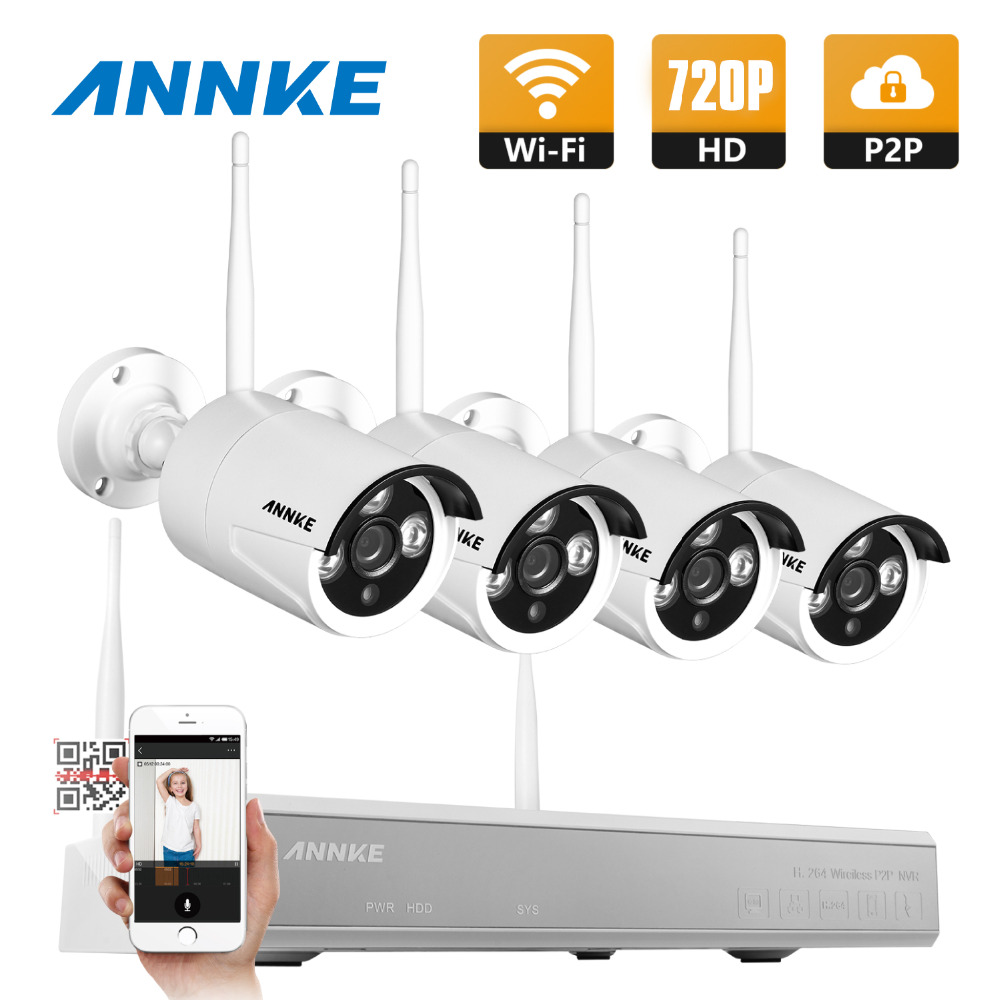 ANNKE Plug and Play Wireless NVR Kit P2P 720P HD Outdoor IR Night Vision Security IP Camera WIFI CCTV System anran plug and play 8ch wireless nvr surveillance kit p2p 720p hd outdoor ir night vision security ip camera wifi cctv system