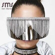 Модные негабаритные зеркальные солнцезащитные очки со стразами для женщин и мужчин, Роскошная большая оправа, маска с бриллиантами, серебристые очки с защитой глаз, UV400