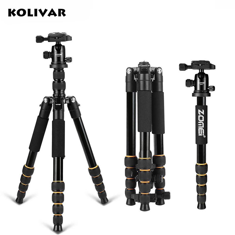 KOLIVAR Zomei Q666 Tripod Professional Portable Travel Tripod Monopod Stand For DSLR Camera With Stable Ball Head Up to 13lbs aluminium alloy professional camera tripod flexible dslr video monopod for photography with head suitable for 65mm bowl size
