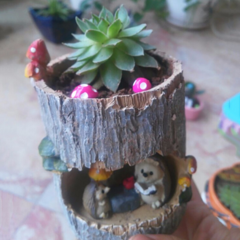HTB16o9Szv5TBuNjSspcq6znGFXaw - Modern Wooden Resin Bonsai Succulents Pot Retro Permeable Ceramic