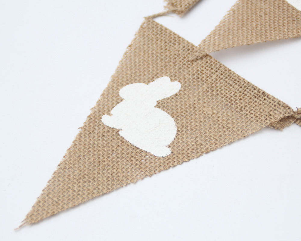 Rabbit Printed Linen Flag Easter Party Decorative Pennant Party Flag Happy Birthday Chritmas Decorations Banner Hanukkah in Banners Streamers Confetti from Home Garden