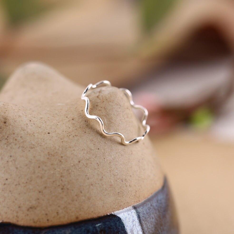 925 Sterling Silber Dünne Wellenförmige Draht Plain Knuckle Midi ...