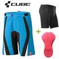 2017 Homens Calções Cube MTB Andar de bicicleta de Ciclismo Downhill Shorts 3D Roupa Interior acolchoado 4 Cores Cubo Calções de Ciclismo Bicicleta Curto calças