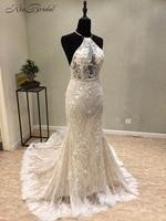 Sexy Backless Wedding Dress 2018 Sleeveless vestido de novia Beading Halter Lace Bridal Gown Sweep Train