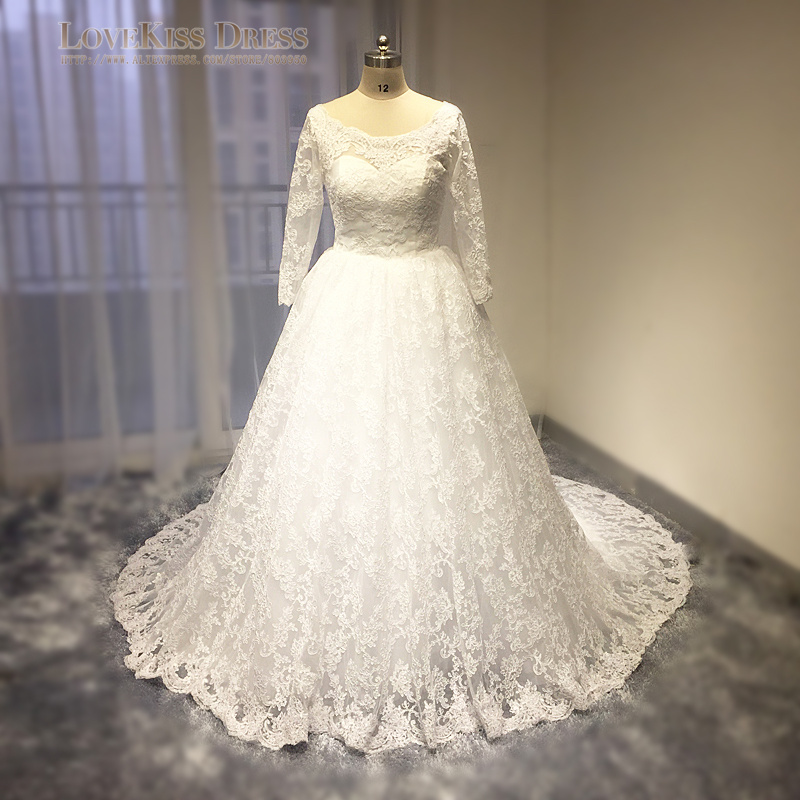 100% Real Photo Royal Wedding Gown Lace Appliques Elegant