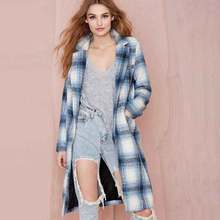 Fashion Camperas Mujer Abrigo 2016 Slim Coat Women's Coat Long Sleeve Sky Blue Fashion Women Winter Coats Fashion S22883