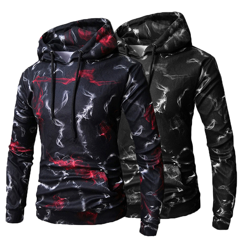 Autumn Hoodies Men Women Floral Hooded Pullover Cotton HipHop Hoody Sweatshirts Drawstring Hombre Tracksuit Casual Coat