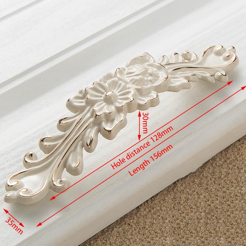 KAK цинк Aolly цвета слоновой кости ручки для шкафа кухонный шкаф дверные ручки для выдвижных ящиков Европейская мода оборудование для обработки мебели - Цвет: Handle-8823-128
