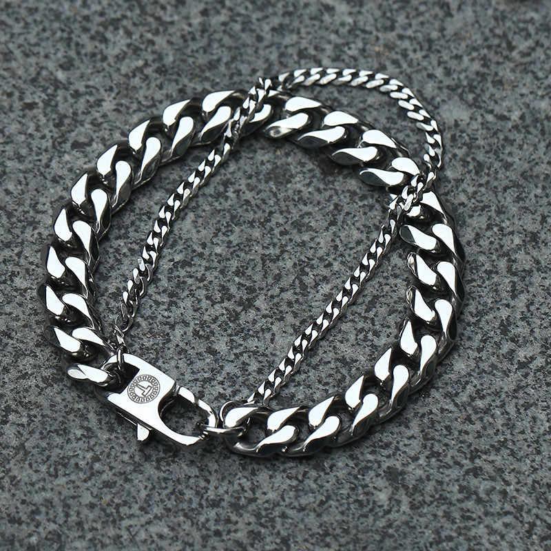 Davieslee podwójna kubańska bransoletka łańcuchowa dla mężczyzn polerowane wykończone ogniwo ze stali nierdzewnej srebrny złoty czarny ton 8-10 cali LDB03