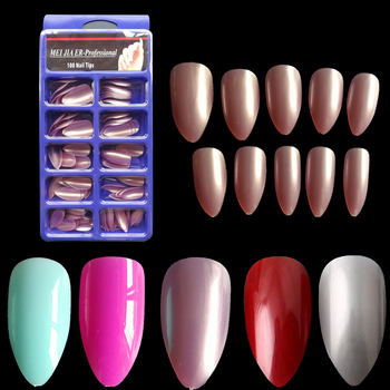 100pcs/Box Eagle Nail Tips Stiletto Nails Full Cover False Fake Nail UV Gel Polish 10 Sizes for Nail Salons Manicure Perfect Маникюр