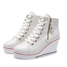 Womens Ladies Canvas Shoes High Tops Heel Wedge Sneakers Lac
