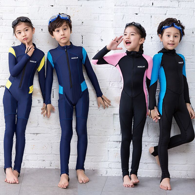 Kids Child Swimming Diving Kayak Wetsuit Swimwear Long Sleeve Front Zipper Suit