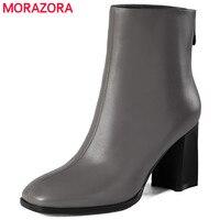 MORAZORA High Heels 7 5cm Ankle Boots Genuine Leather Womens Boots Zipper Balck Spring Autumn Fashion