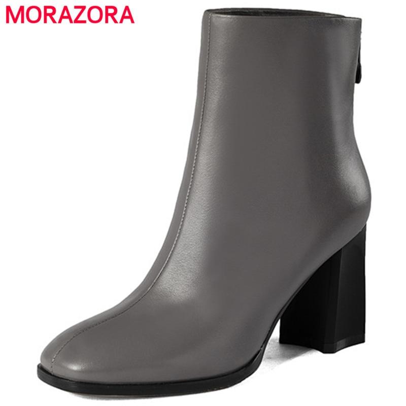 MORAZORA High heels 7.5cm ankle boots genuine leather womens boots zipper balck spring autumn fashion boots big size 34-43 morazora platform boots in spring autumn high heels shoes woman ankle boots for women genuine leather boots big size 34 40