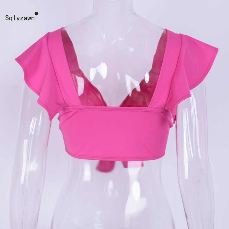 女性のセクシーな V ネックフレア袖クロップトップ夏ストリートかわいい蛍光グリーンピンク Tシャツ背中の弓 Tシャツ