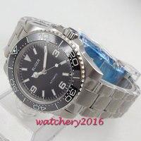 Bliger 39mm mostrador preto luminoso mãos cheio de aço inoxidável safira vidro data movimento automático relógio masculino
