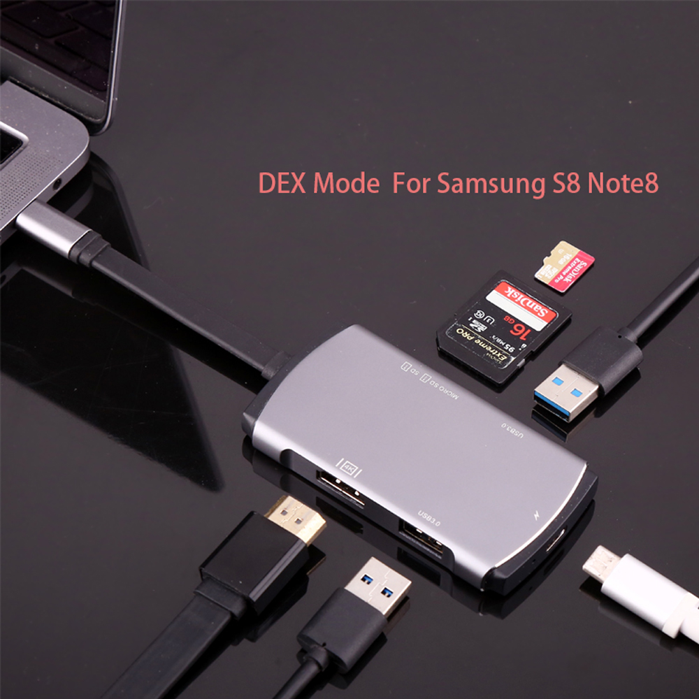 USB Type C Adapter For Samsung Galaxy S8  Note8 with 4K HDMI USB-C Charging USB 3.0 SD & Micro SD for Macbook Pro magnetic charging dock usb charging data cable for samsung galaxy note 3 white black 90cm