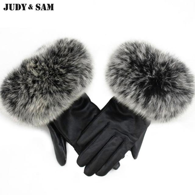 ba8a86b74ef Warm Winter Quality Ladies Genuine Sheepskin Black Leather Gloves With Real  Natural Fluffy Fox or Raccoon Fur Hood
