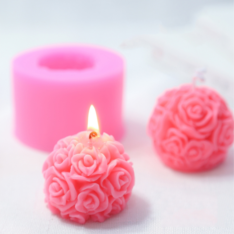 Rose Ball Aromatherapy Candle Silicone Mold Home Decoration Flower Candle Silica Gel Mould DIY Soap Molds