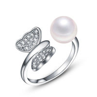 2017 new fashion personality high quality 100% sterling silver sparkling crystal pearl butterfly ring jewelry