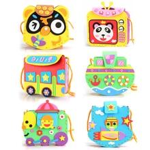 6sets/ lot Cartoon Crossbody Bag DIY Applique Children Handmade Non-woven Cloth Animal Flower Craft Art Gift
