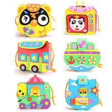 6sets/ lot Cartoon Crossbody Bag DIY Applique Bag Children Handmade Non-woven Cloth Animal Flower Bag Craft Art Craft Gift